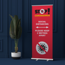 Social distancing pop up banner