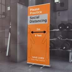 social distancing roll up banner